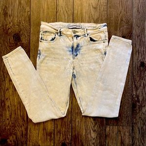 Express acid wash skinny jeans